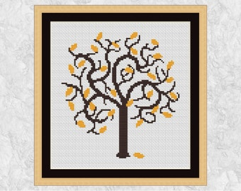 Autumn cross stitch pattern, fall cross stitch, tree cross stitch, leaves, nature, forest, woodland, modern, easy, PDF - instant download