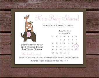 25 ELEPHANT & GIRAFFE Baby Shower Invitations set - Price includes personalization and printing