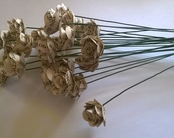 25 Small Book Page Rolled Roses with Stems,Wedding Decoration, Wedding