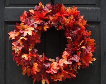 Fall Leaves Wreath, Fall Wreath, Fall Front Door Wreath, Autumn Leaves Wreath, Fall Leaf Wreath, Autumn Wreath, Fall Door Decor, Fall Decor