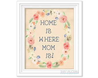 Home Is Where Mom Is Art Print Mother's Day Art Print Gift For Mom Typography Poster Wall Art Home Decor Wall Art Mother's Day Gift (No.350)