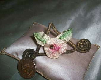 Lovely ribbonwork flowers with ombre silk leaves and metal work authentic 1910s to 20s