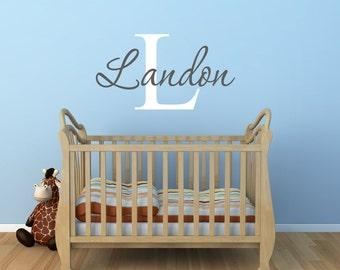 Baby Boy Wall Decal Etsy - Monogram wall decal for nursery