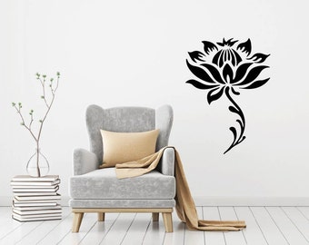 Lotus Flower And Stem Decorative Yoga Vinyl Wall Decal Sticker Wall Decor Mural