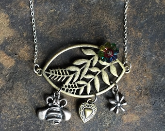 Leaf Necklace with Charms Mixed Metals Vintage Handmade Bee Flower Heart
