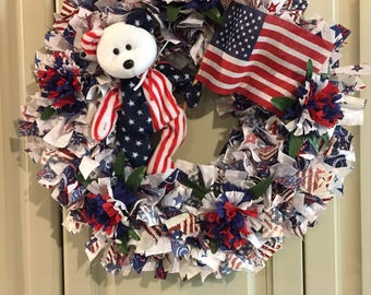 Americana Rag Wreath with Patriotic Bear, Flag and Carnations (#035)