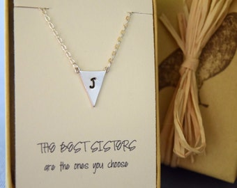 Personalized Triangle Necklace in Silver or Gold, Best Sisters are the Ones you Choose, Unbiological Sister, Friend Gift, Geometric Choker