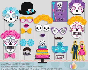 Day of the Dead Party Photo Booth Props for Halloween Sugar Skull Party