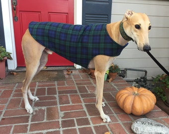 Greyhound Dog Coat, XL Dog Jacket, Green, Navy, and Black Plaid Fleece with Navy Blue Fleece Lining