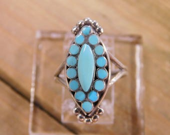 Vintage Zuni Sterling Silver Dishta-Style Turquoise Ring Size 5.5