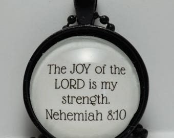 Nehemiah 8:10 The Joy of the Lord is My Strength Pendant Christian Jewelry Scripture Necklace C L Murphy Creative CLMurphyCreative