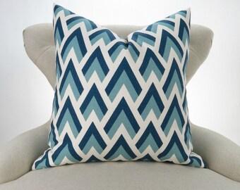 Blue Arrow Pillow Cover -MANY SIZES- Navy Blue Throw Pillow, Egg Blue, Off-White, Ecru, Sofa Cushion, Zapp Felix Premier Prints, FREESHIP