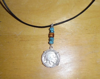 Buffalo nickle pendant with embellishments and leather necklace
