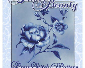 Blue Beauty Floral Cross Stitch Pattern Instant Download pdf