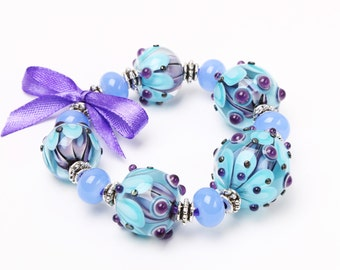 Lampwork Bead Set - Turquoise Blue Violet Purple Beads for Bracelet or Necklace