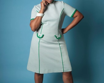 Vintage 60s Dress // Plus Size Green and White Ribbed Knit A Line Dress // Plus Size Dress (sz 1X 16 18)