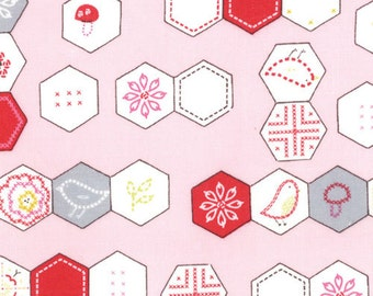 Sew Stitchy Collection - Novelty Hexagons - Pink by Aneela Hoey -  Moda