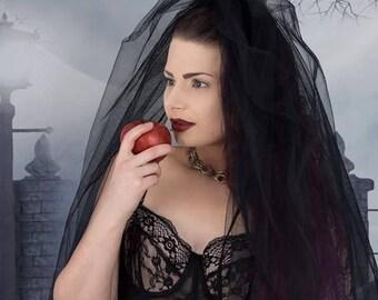 Black tulle mourning veil, wedding, gothic