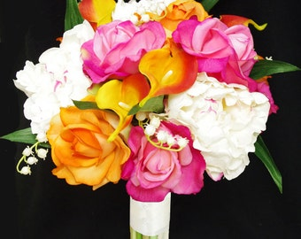 Silk Peonies, Callas and Roses Wedding Bouquet  - Orange and Fuchsia Natural Touch Flower Bride Bouquet - Almost Fresh