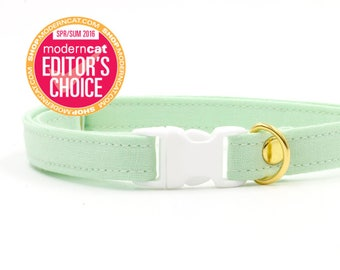 Mint Green Cat Collar with Breakaway Safety Buckle - Kitten Size Available