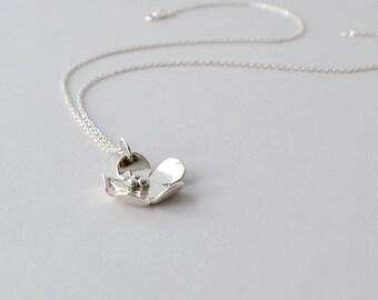 Silver Pendant Necklace, Silver Flower Pendant Necklace, Hsndmade Fine Silver Necklace, Artisan Jewelry, Graduation Gift, Buffalo, NY