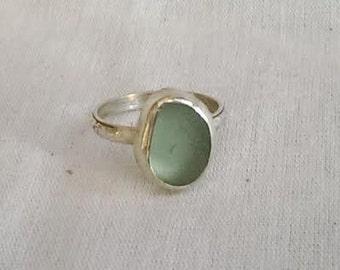 Genuine Sea Foam Beach Sea Glass Ring - Sterling Silver Ring - Hand Made - Ft Bragg, CA Beach Sea Glass - Stone #8 Available