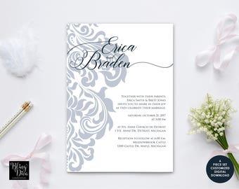 Filigree Wedding Invitation Custom Printable Set