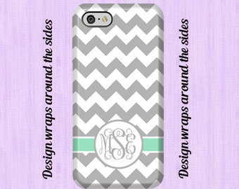 iPhone 8 case, iPhone 7 Plus case Chevron Teal  Monogrammed  iPhone 7 case   iPhone 6 Case iPhone 7 plus Personalized 3D CaseiPhone X,
