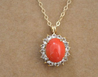 gold coral necklace. vintage red coral color West Germany glass cab necklace with gold filled chain