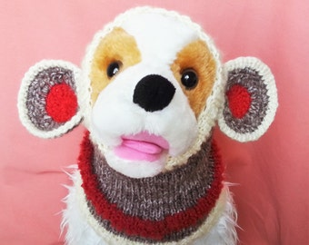 Sock Monkey Dog Snood / Hand Knit / Long Ear Covering / Cold Weather Snood/3 Sizes