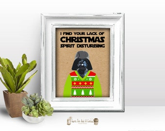 Star Wars Christmas Decoration Darth Vader Wall Print Ugly Sweater Holiday Spirit Printable Digital File Instant Download Home Decor Geek
