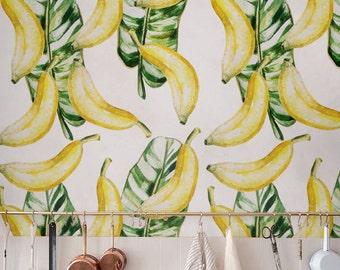 Watercolour Banana leaves Wallpaper, Removable Wallpaper, Self-adhesive Wallpaper, Jungle Wall Décor, Jungle Wallcovering - JW027