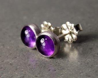 Gemstone Post Earrings, Amethyst Earrings, Sterling Silver