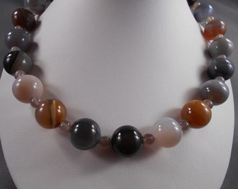 Colassal Multi Agate Necklace and Earring Set