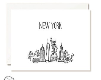 New York City Black and White Illustration Card - Handmade - Set of 10 - A2 Blank