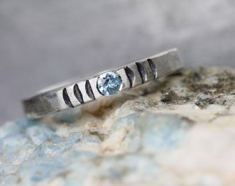Ice Blue Aquamarine Wave Ring Hammered Sterling Silver Rustic Boho Modern Cool Aqua Black March Birthstone Gift Idea Stackable - Chill Wave