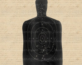 Target Aim Shooting Silhouette Gun Graphics Digital Image Instant Download Burlap Clothing Fabric Transfers Iron On Pillows Tote Bags a302