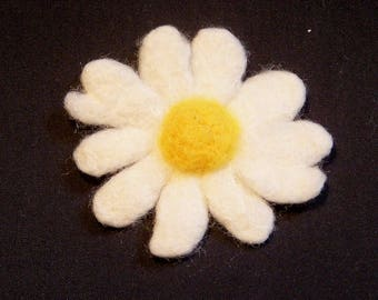 Needle Felted Flower - Yellow and White Daisy - Felt Daisy - Felt Flower - Applique = Your choice  Pin Back, Barrette, or Pony Tail Elastic