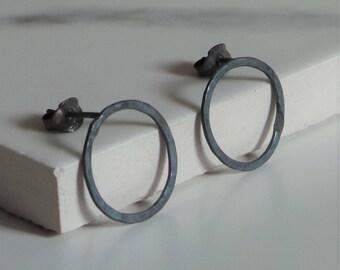 Black Circle Earrings - Sterling Silver Rustic Circle Studs - Hammered Oxidised Silver Earrings - Handmade Minimalist Jewellery Etsy UK