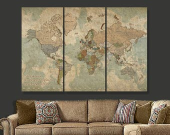 World map decor etsy travel map of world on canvas world map decor world map canvas art gumiabroncs Choice Image