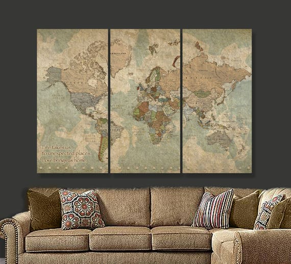 Travel map of world on canvas world map decor world map like this item gumiabroncs Gallery