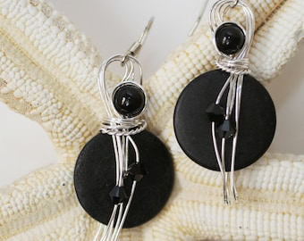 Classic Black Earrings, Boho Chic Jewelry, Wirework Earrings, Onyx Earrings, Casual Earrings, Wire Jewelry, Unique Earrings