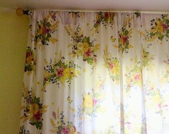 Vintage cotton long curtains, handmade curtains,vintage sheets curtains, vintage window treatments, 1950s prints ,1960s flowers prints