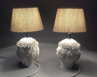 Pair of Dramatic Handmade Table Lamps