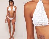 White Crochet Bikini White Swimsuit Boho Bathing Suit Halter Neck Swim Suit Triangle Top Bohemian Vintage Retro Two Piece Extra Small xs