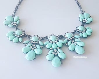 Statement Necklace Mint Green Crystal Flower Cluster Chandelier Statement Necklace Weddings Bridesmaids Chunky Necklace Prom Necklace