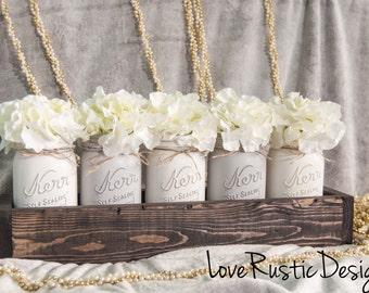 5 Mason Jar Centerpiece in Rustic Planter, Rustic Home Decor, Mason Jar Decor, Rustic Decor, Canada, Mason Jar Centerpieces