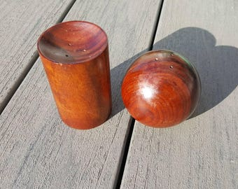 Rosewood? Lovely mid century modern salt and pepper shakers