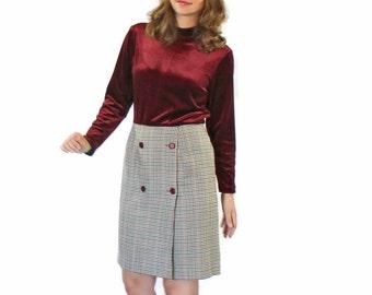 70s Velvet Dress. Burgundy Top Houndstooth Bottom. Oxblood Dress. Size Small Petite. Back to School.