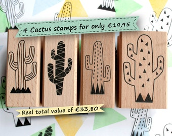 Cactus stamp set *Special offer: Set of 4 cactus stamps, cactus rubber stamp set, cactus stamps